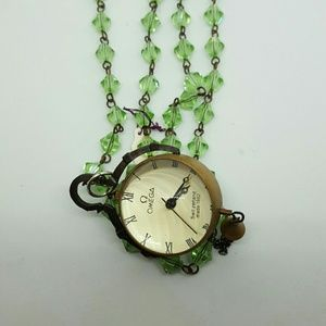 """11/2"""" round watch on green crystal chain"""